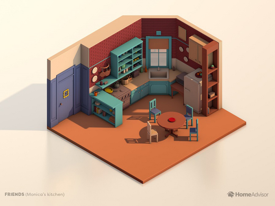 A rendering of Monica and Rachel's kitchen from 'Friends.'