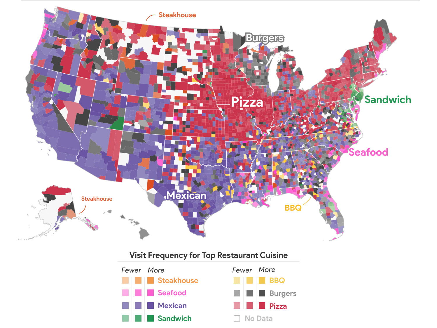 The Most Popular Cuisines by County According to Google Location Data