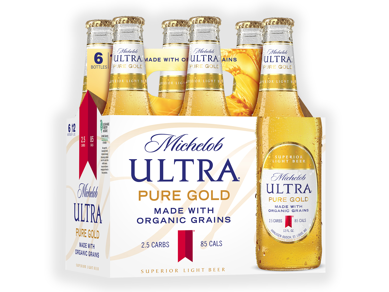 pack of beer made with organic grains