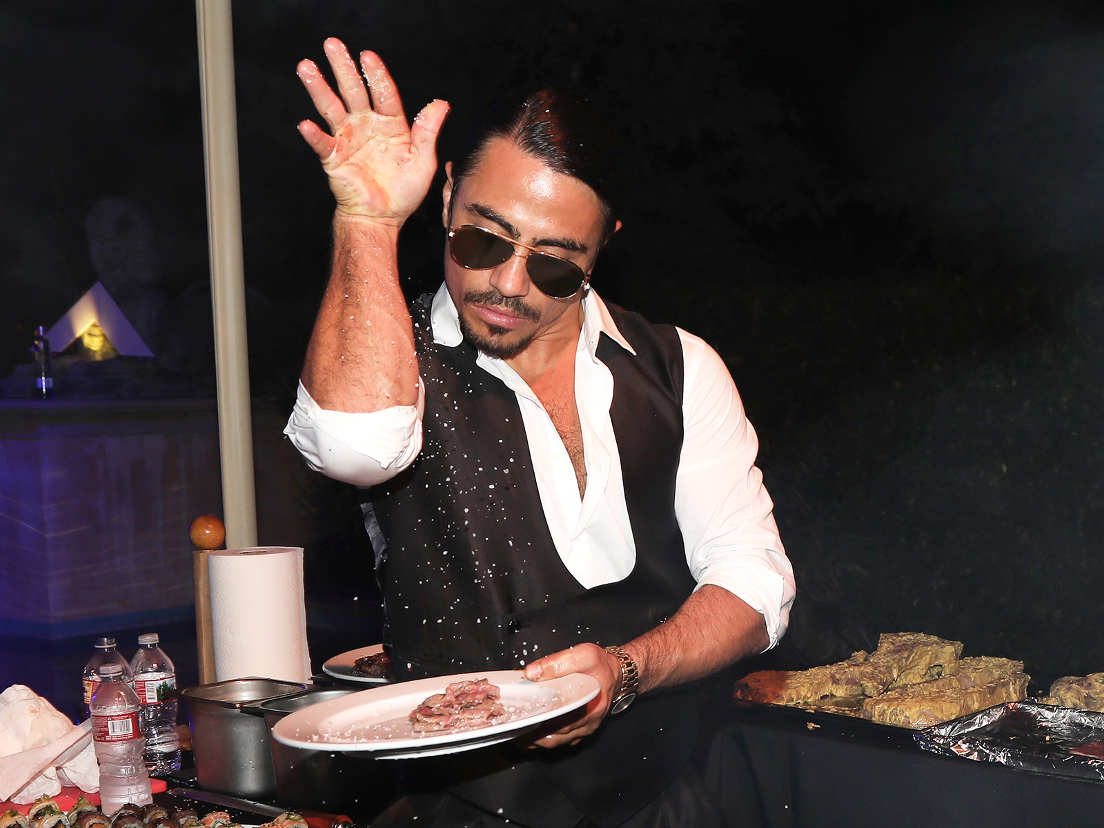 salt bae goes too far with sliced cheese