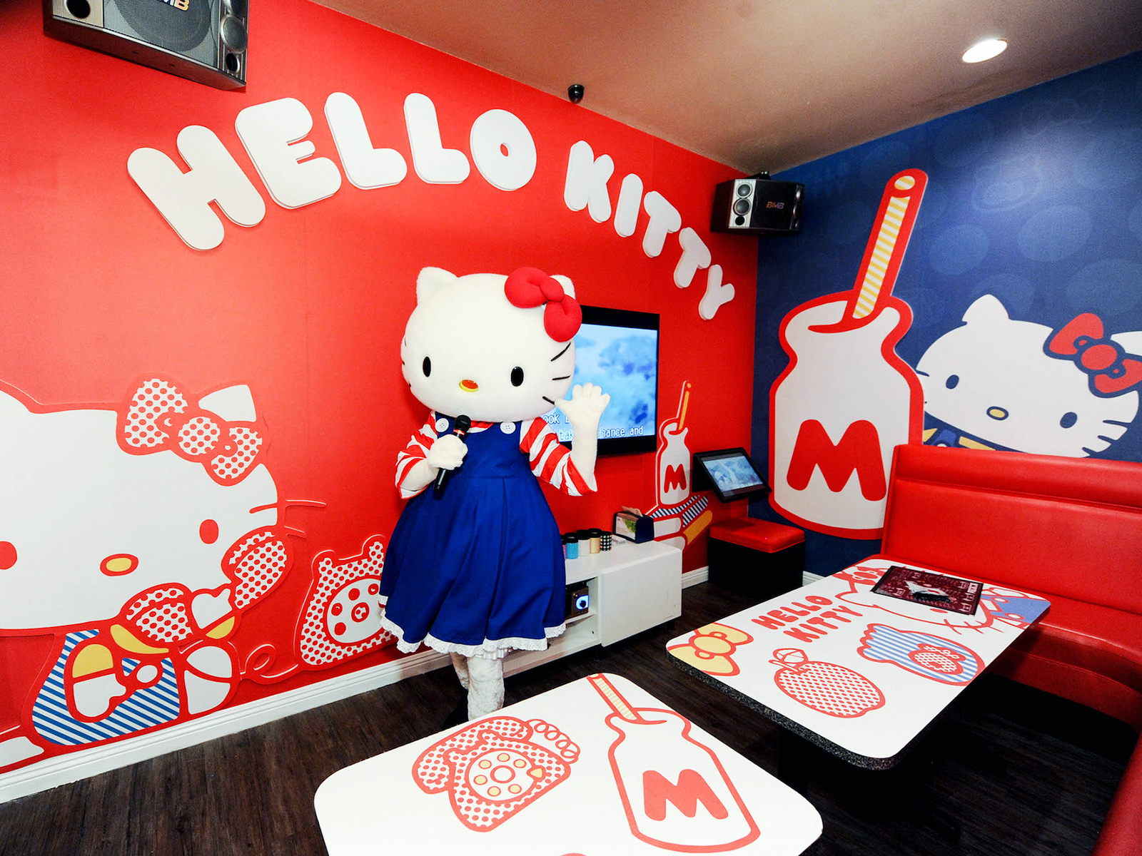 classic hello kitty themed karaoke room