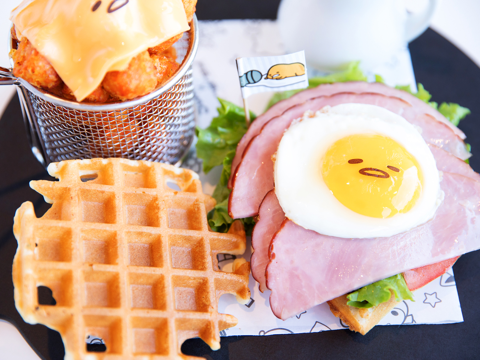 breakfast eggs waffle sandwich at sanrio karaoke