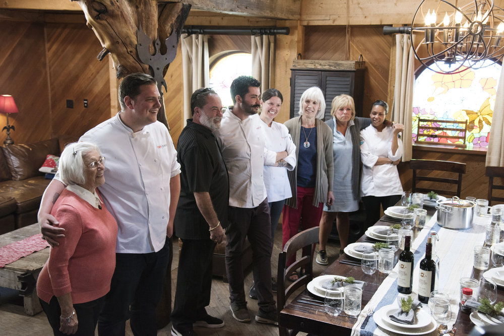 Top Chef contestants and their families.