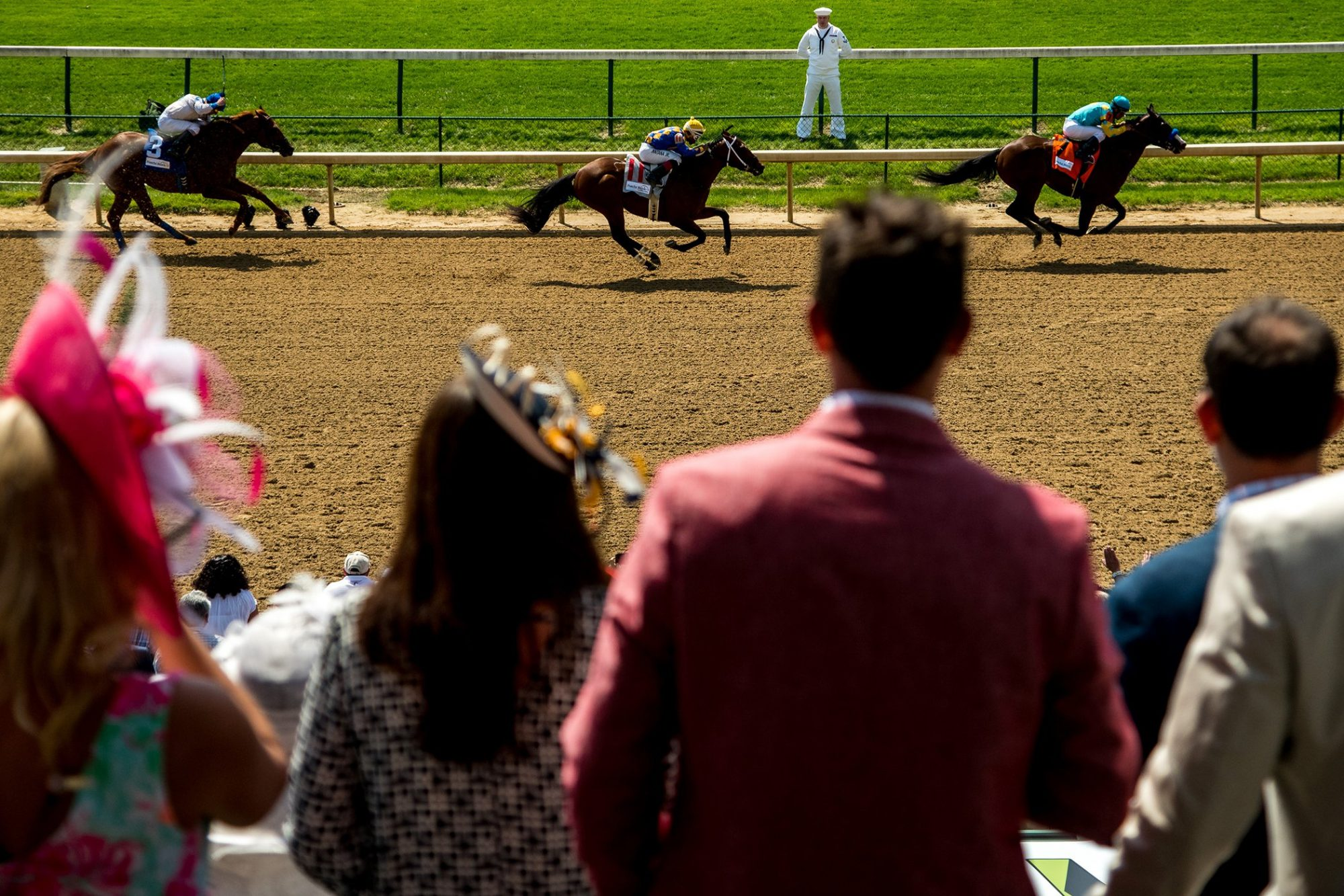 Fans watch an undercard race on Kentucky Derby Day on May 7, 2016 in Louisville, Kentucky.