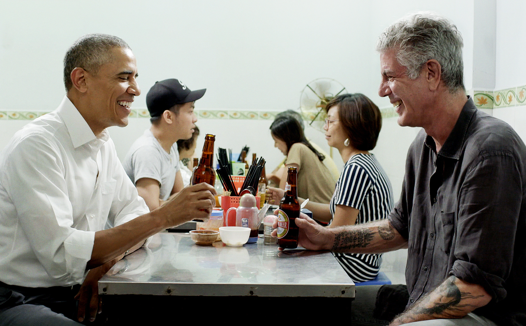The Table Where Anthony Bourdain and Barack Obama Had Lunch Together Is Now Encased in Glass