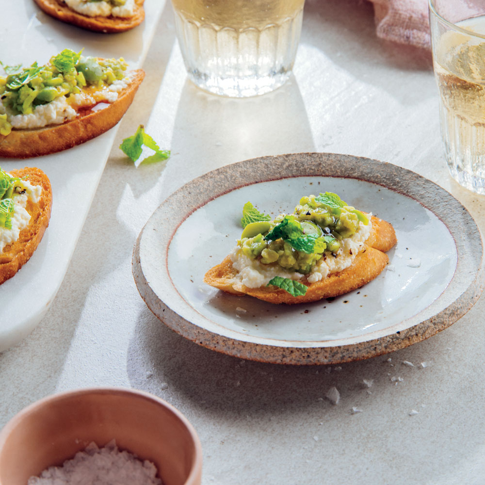 Crostini with Ricotta, Honey, and Fava Beans