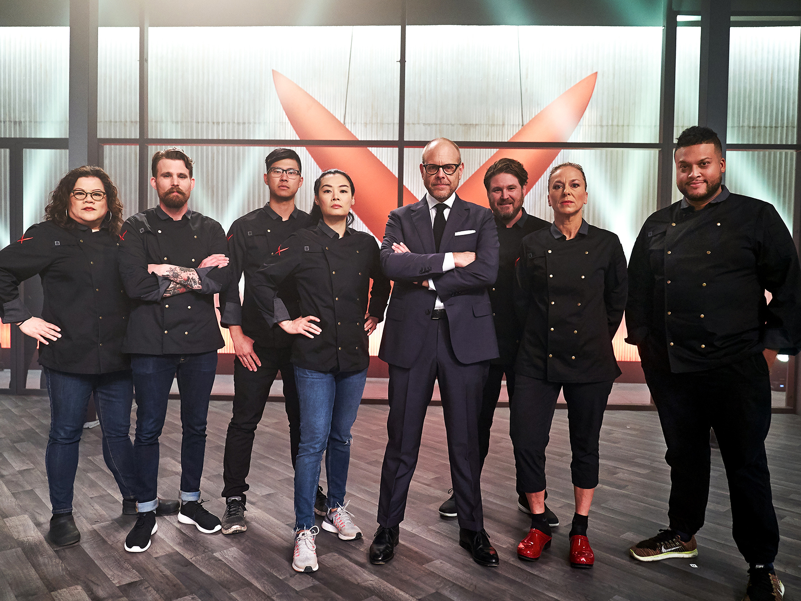 alton brown and chefs for iron chef on food network