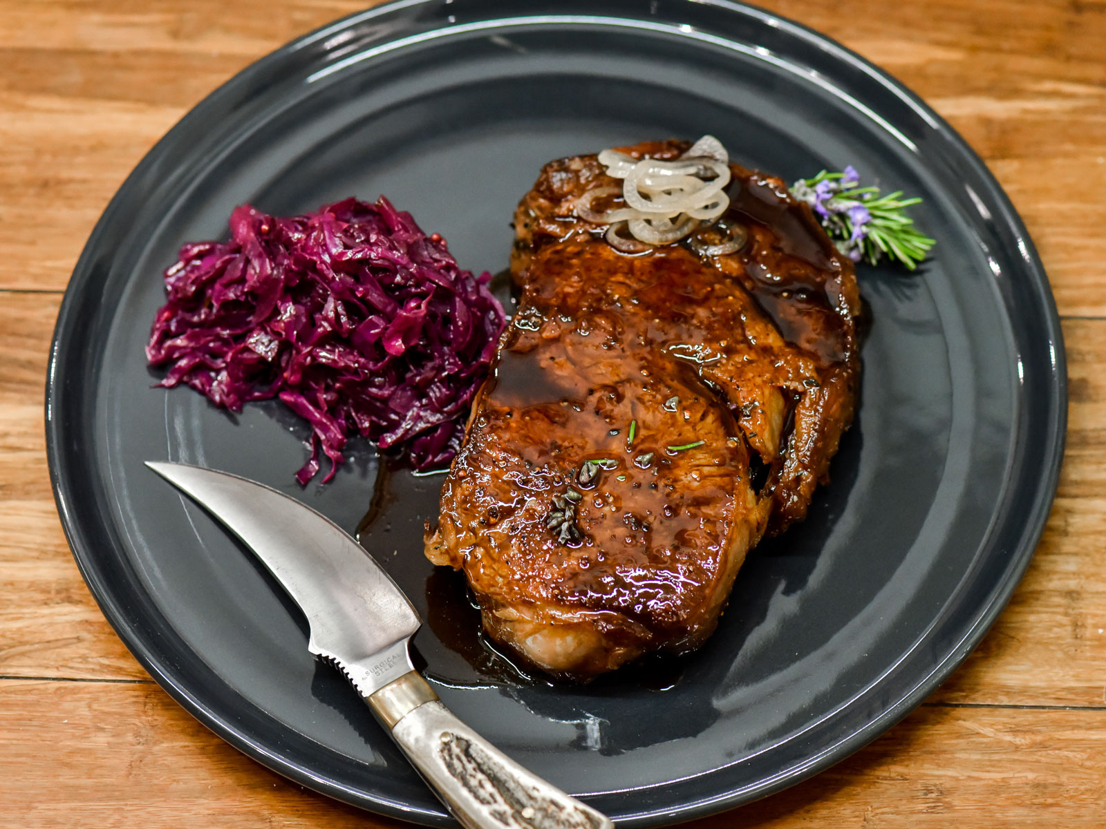 Wagyu Ribeye with Parker Syrah Braised Cabbage