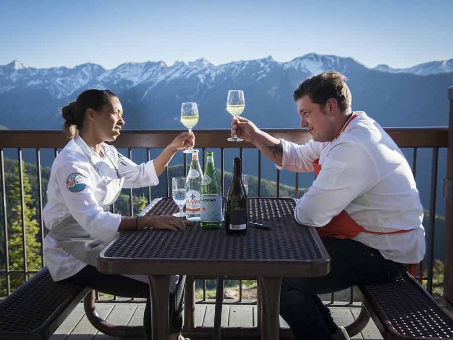 Adrienne Cheatham and Joe Flamm share a toast before finding out who is crowned Top Chef.