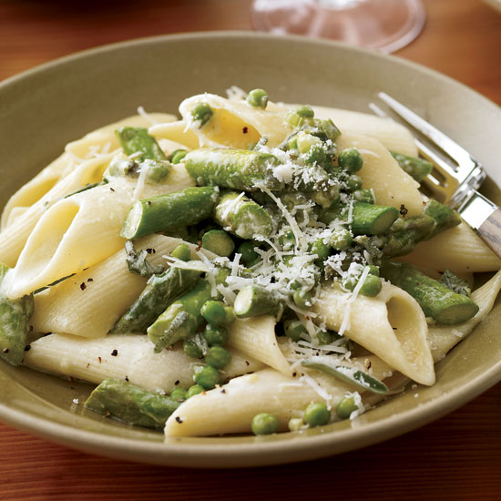 Penne with Asparagus Sage and Peas