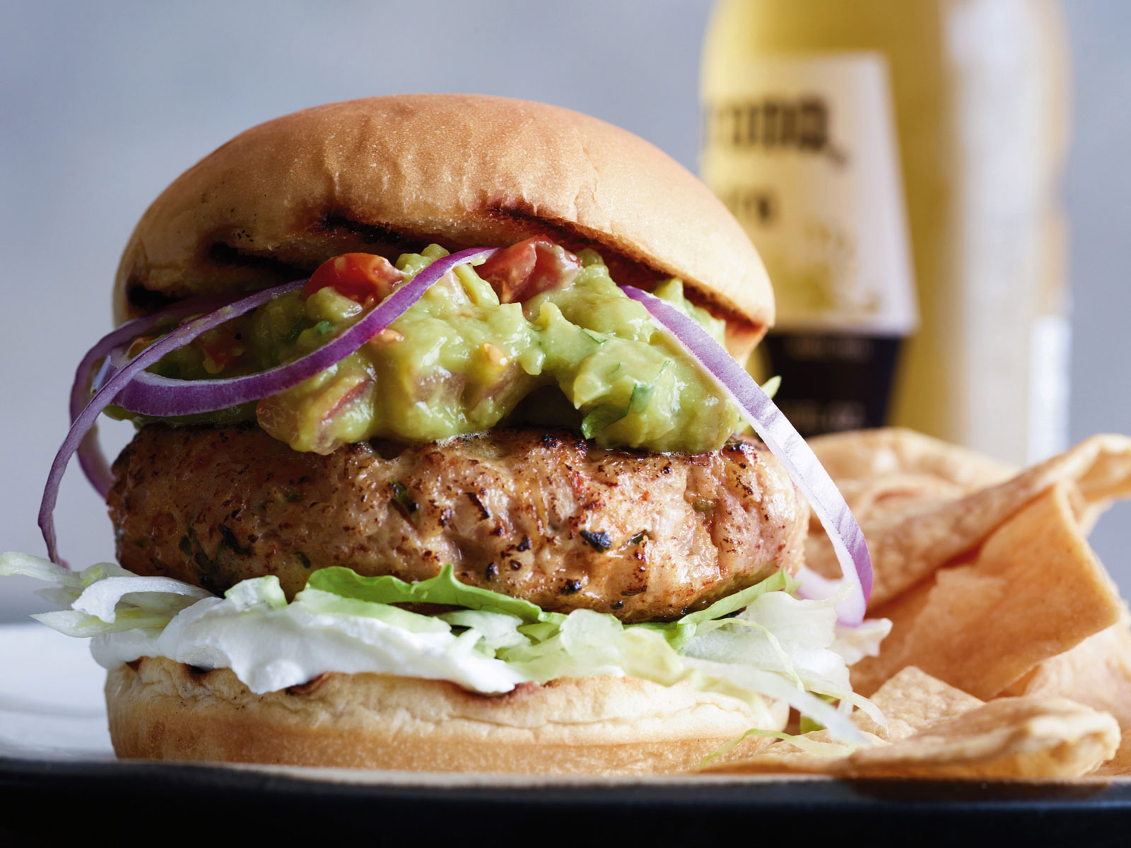 Cheese-Belly Chicken Burgers with Sour Cream and Guacamole