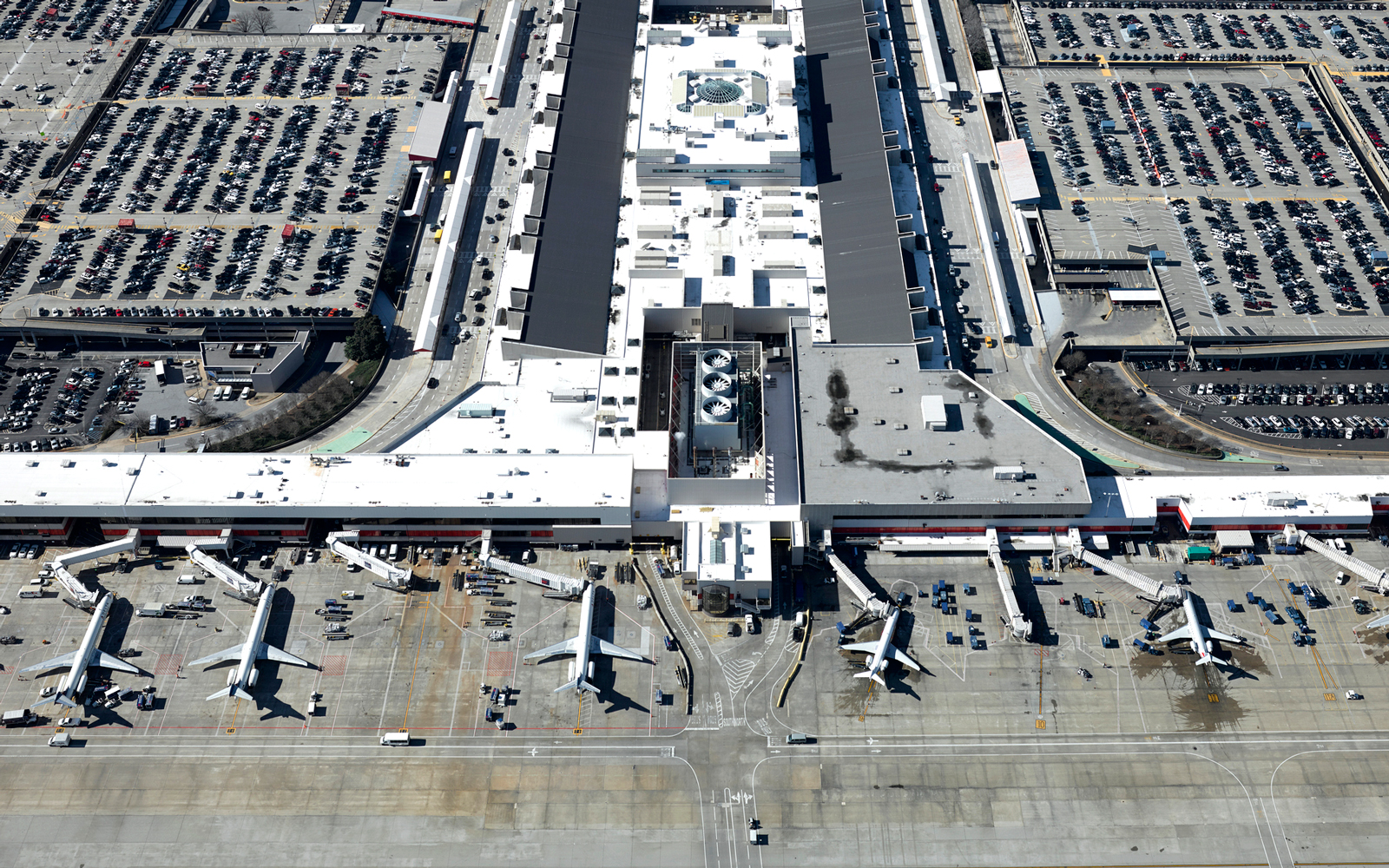 Aerial of Atlanta International Airport Terminal