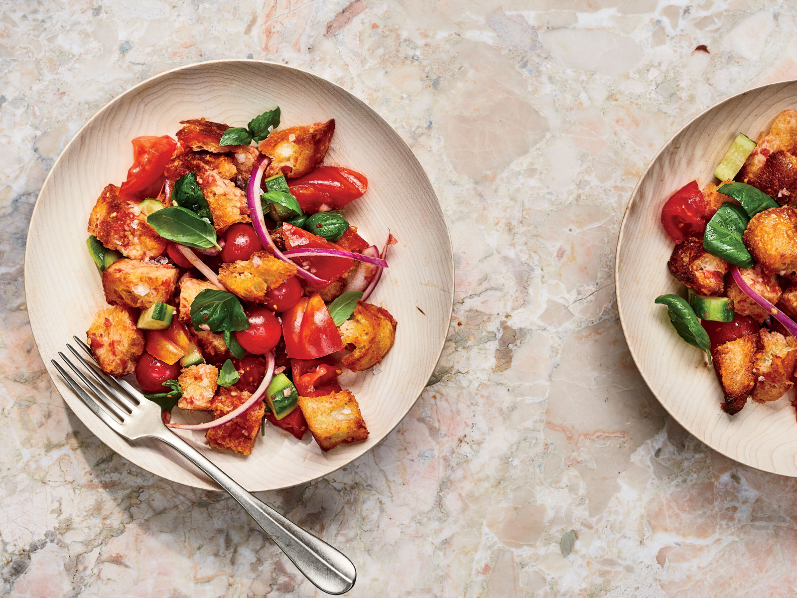 Tomato, Basil, and Cucumber Panzanella with Grated Tomato Balsamic Vinaigrette