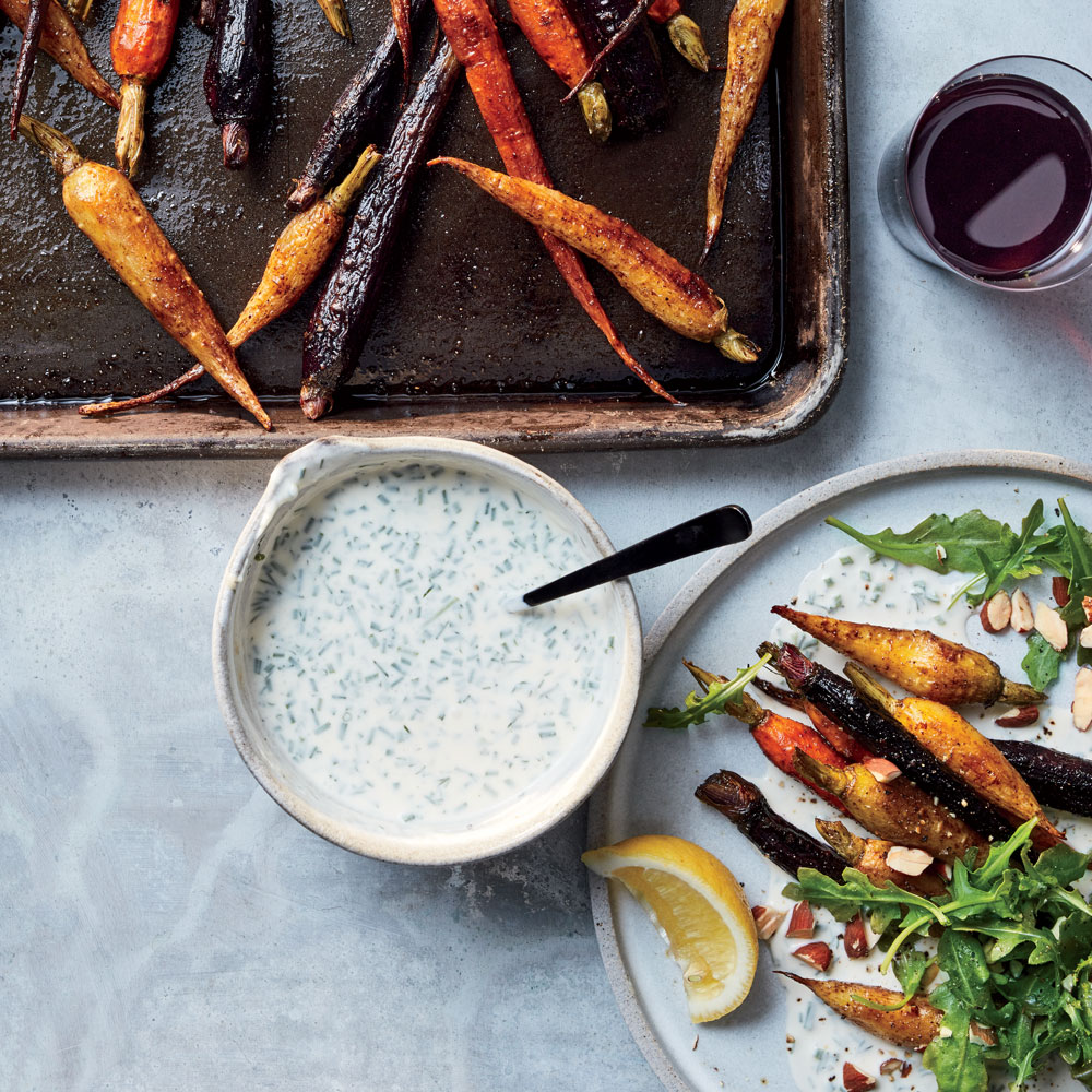Coffee and Five-Spice Roasted Rainbow Carrot Salad