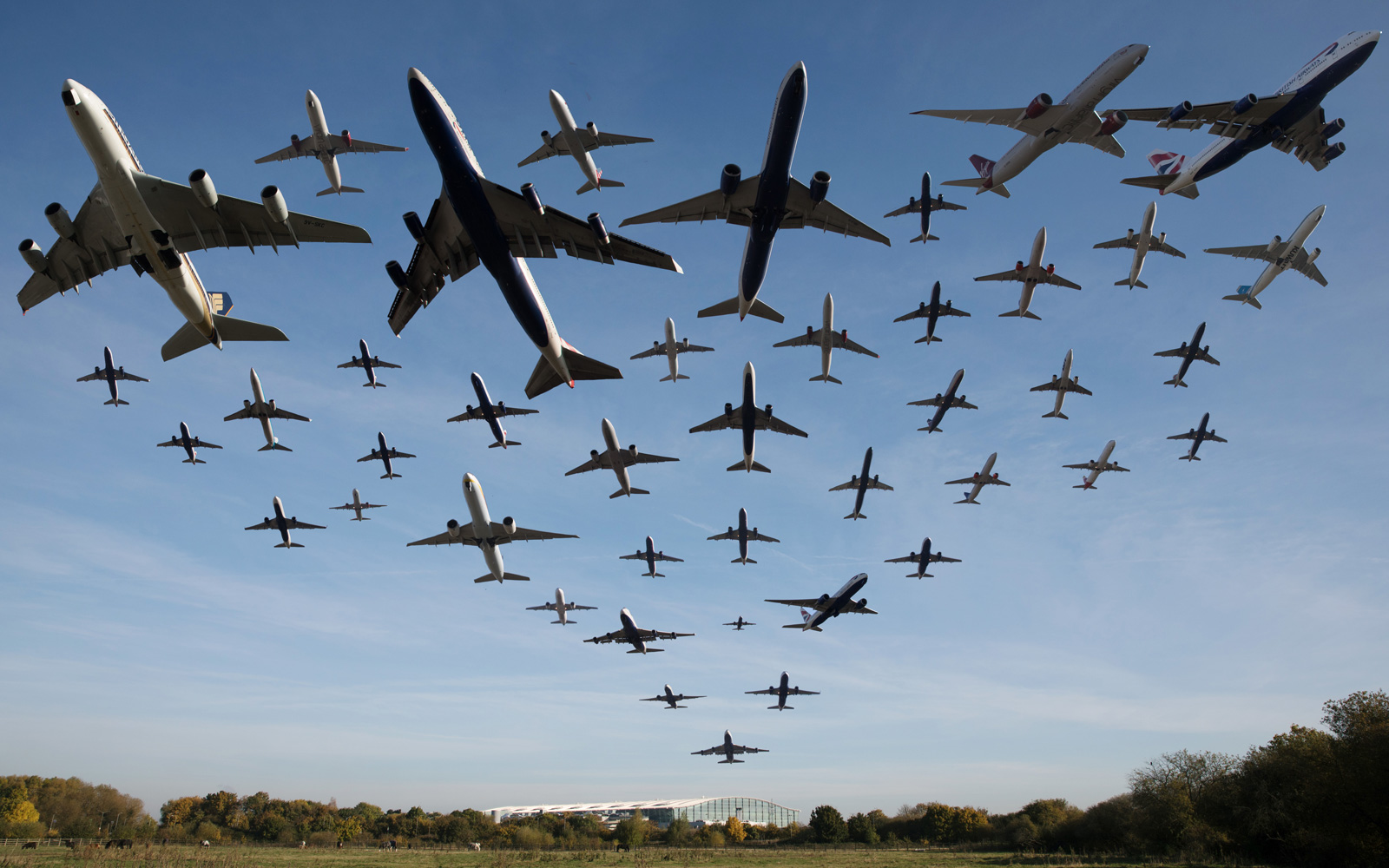 Planes taking off from Heathrow.