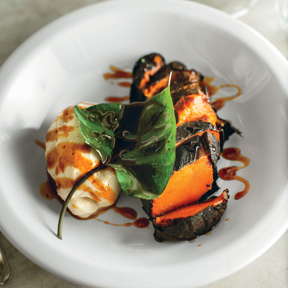 Charred Sweet Potatoes with Elecampane Cream and Honey Gastrique