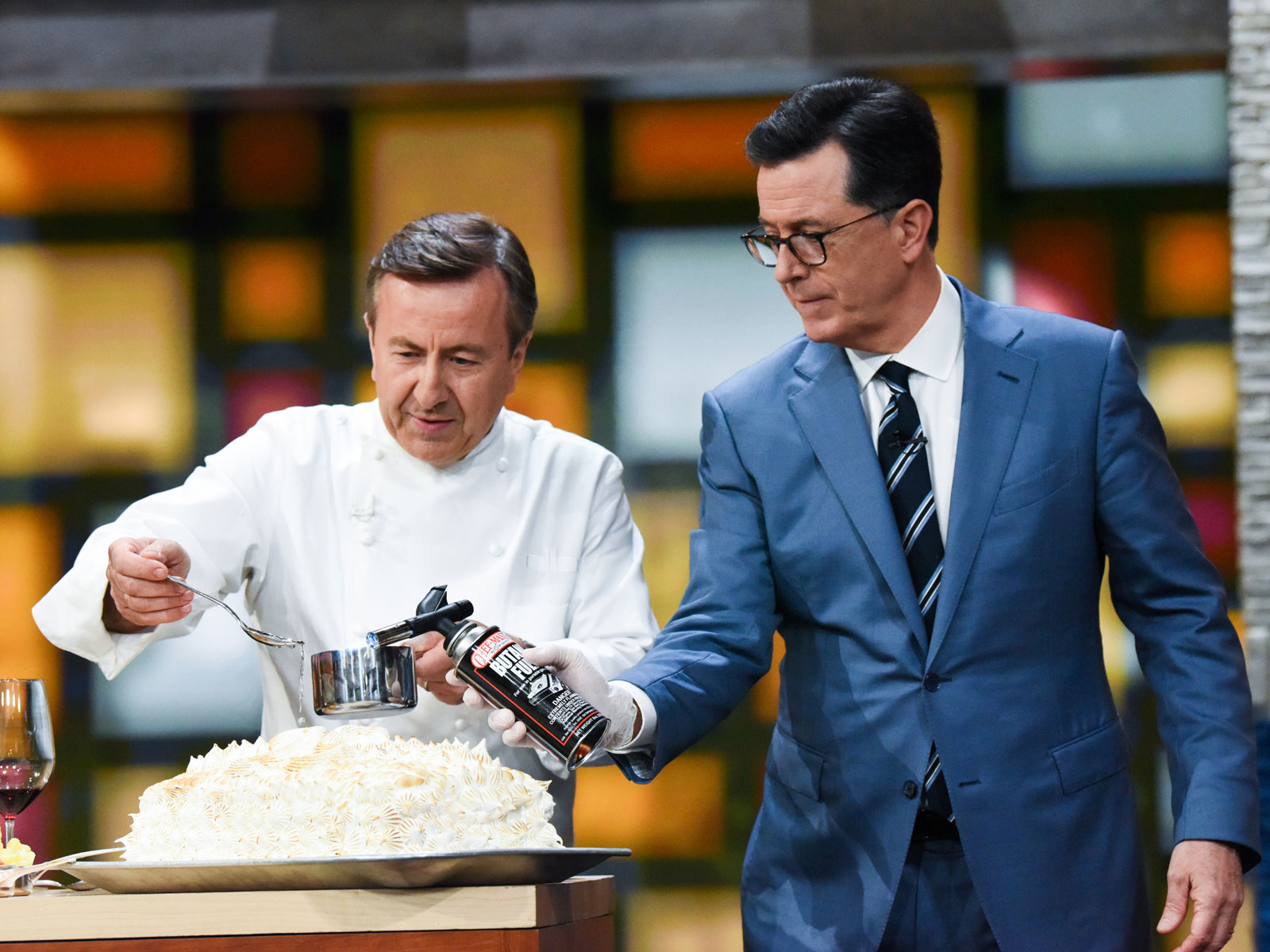 Daniel Boulud Celebrates 25 Years of 'Daniel' by Cooking Vol-au-Vent for Stephen Colbert