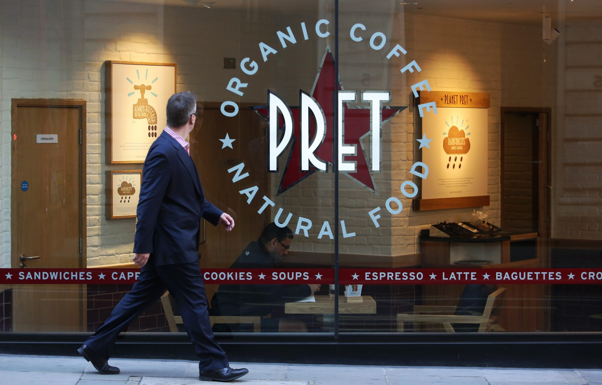 Retail Operations Inside A Pret A Manger Sandwich Store As Full Year Results Announced
