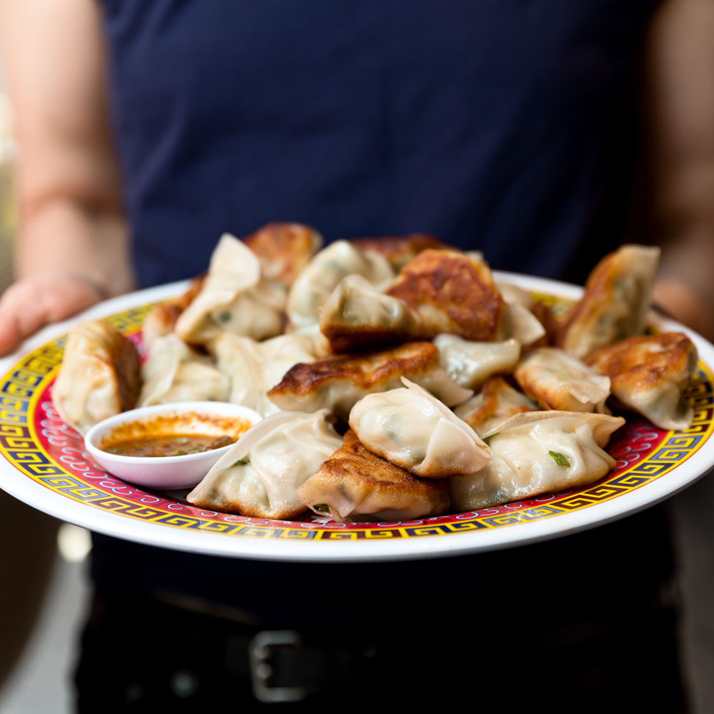 Mama Chang's Pork and Chive Dumplings with Black Pepper-Scallion Sauce