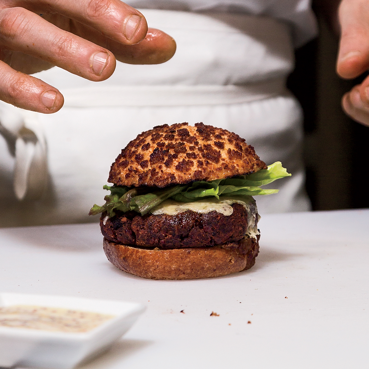 Beet-Bean Cheeseburger