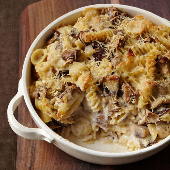 Cheesy Mixed Pasta Casserole with Mushrooms