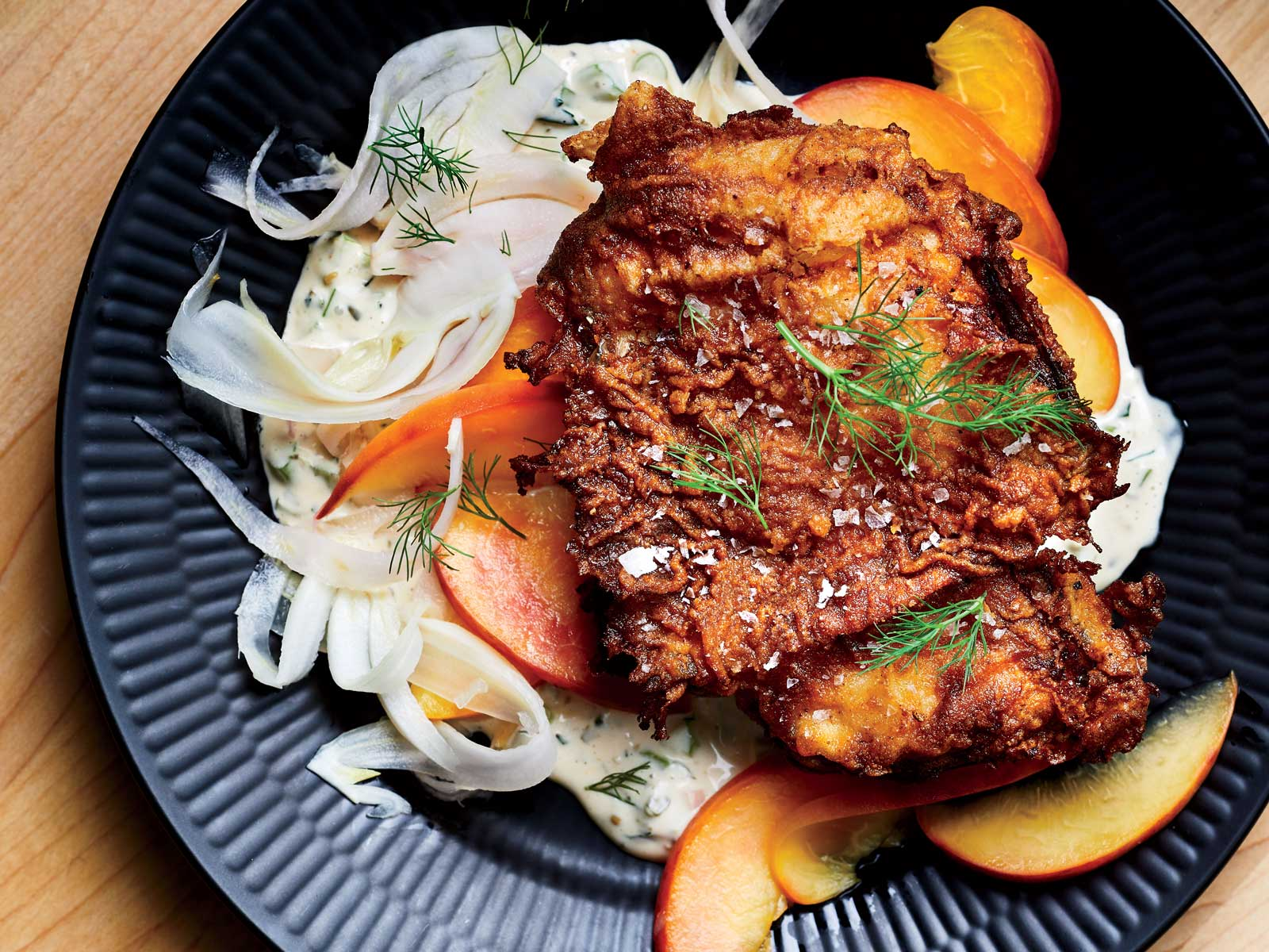 Buttermilk Fried Chicken with Pickled Peach-Fennel Salad