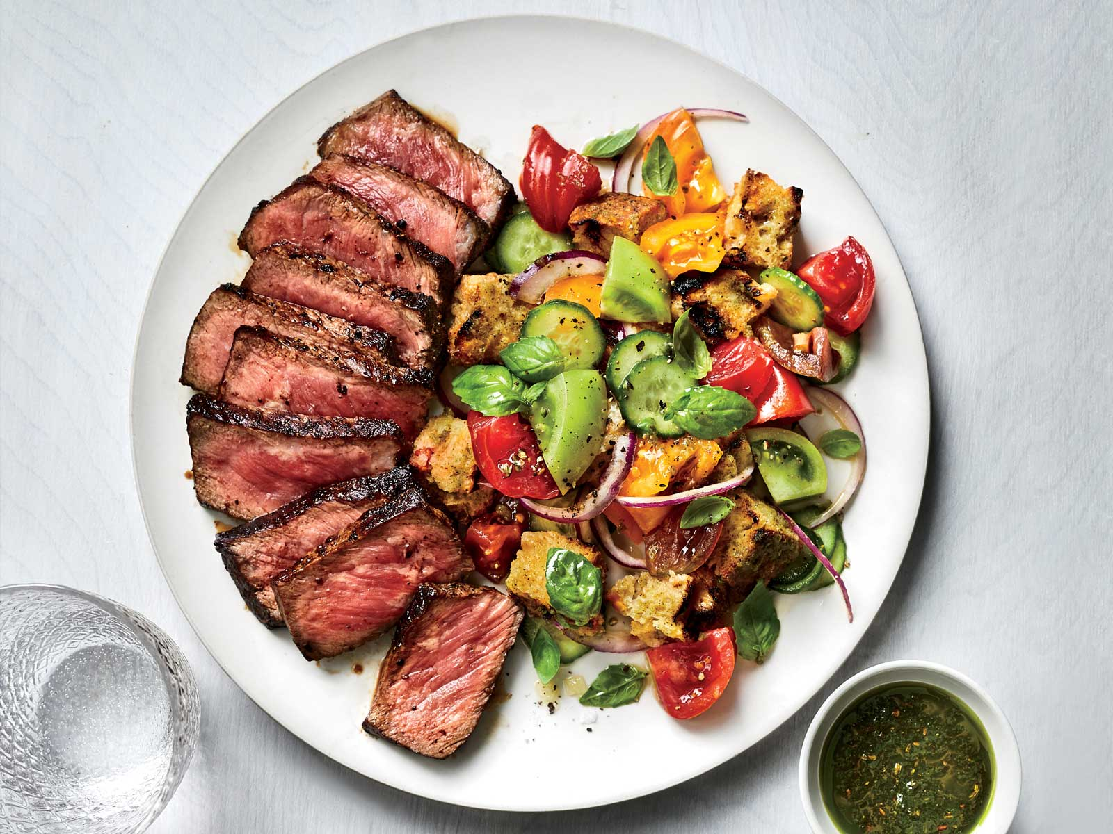 Charred Cucumber Panzanella with Grilled Steak