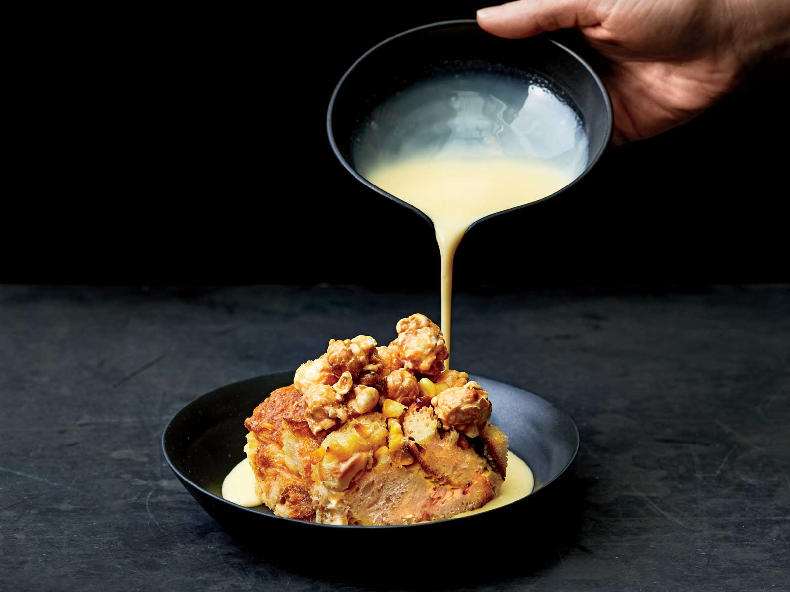 Sweet Corn and Bourbon Bread Pudding