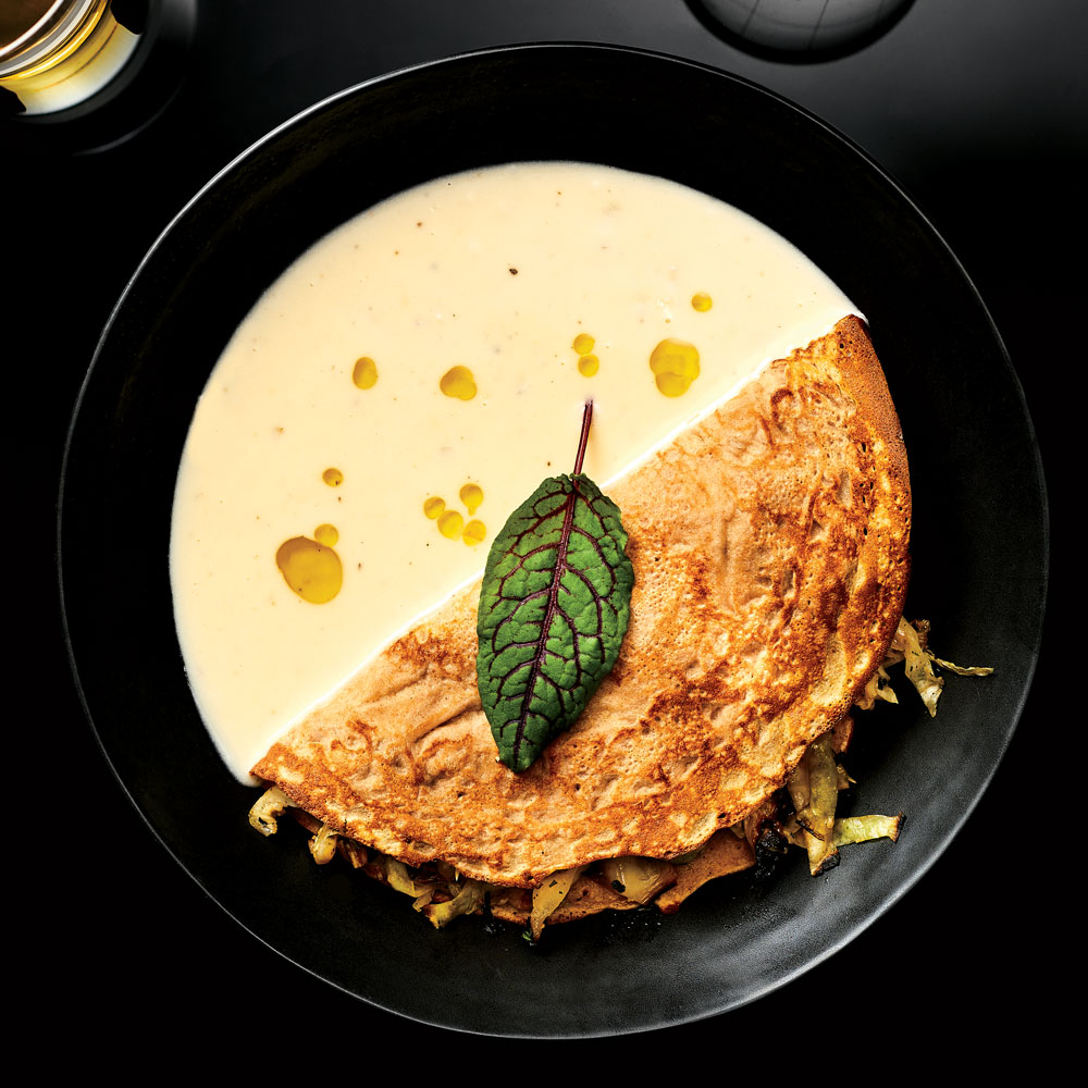 Barley Crepes with Brassicas and Sauce Pierre