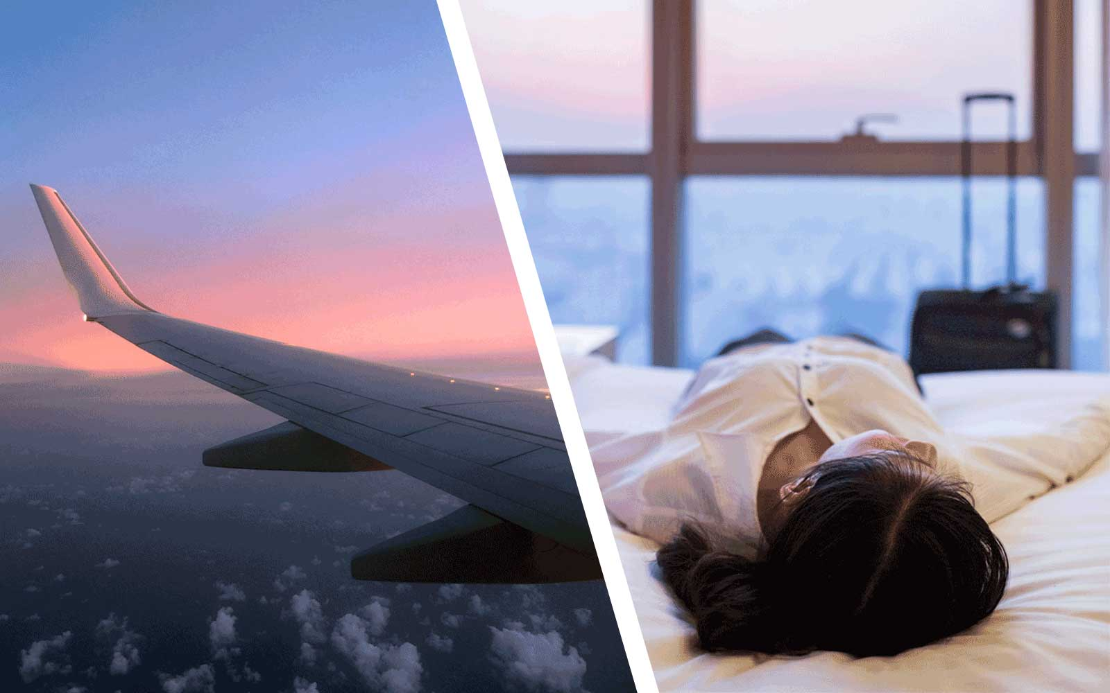 Airplane and Woman laying on hotel bed