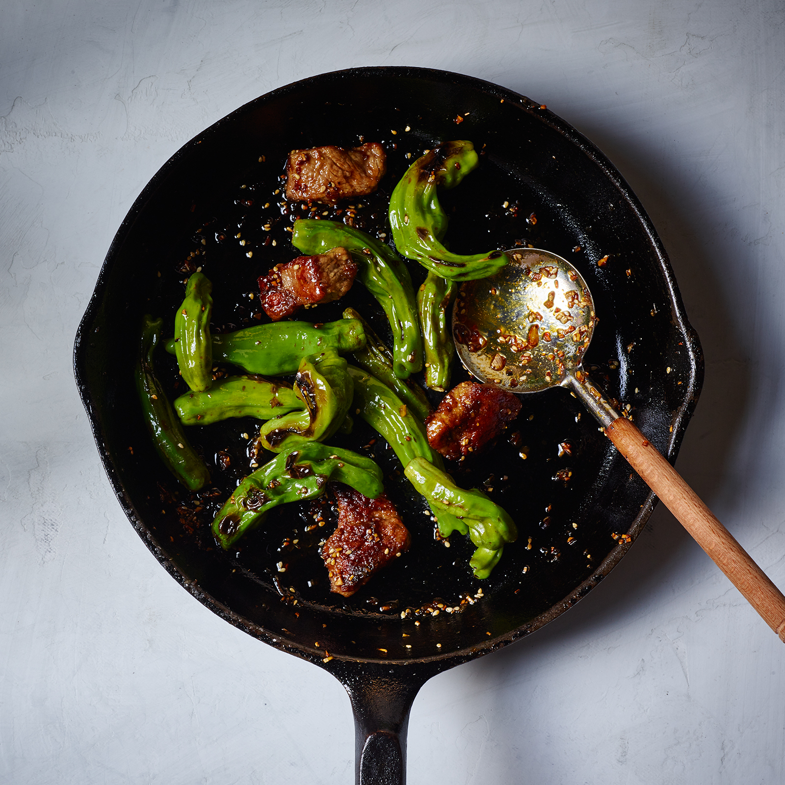 Wok-Seared Steak Mah-Jongg with Shishito Peppers