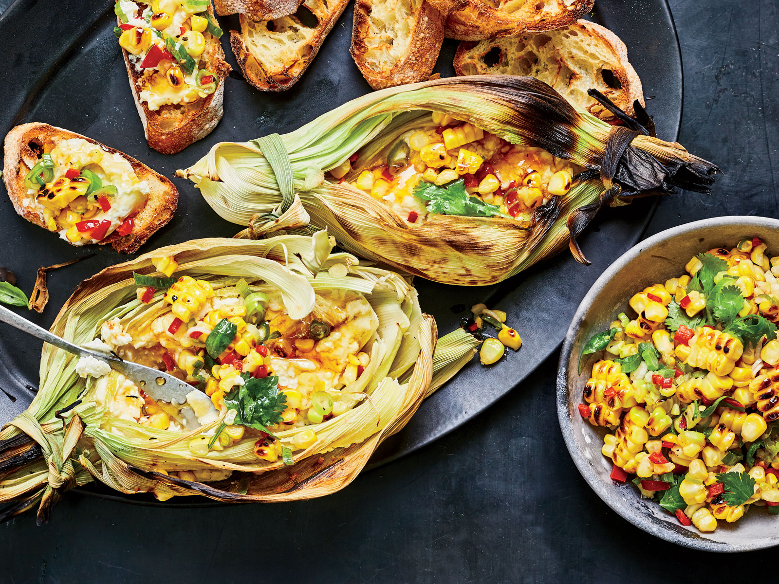 Corn Husk-Grilled Goat Cheese with Corn Relish and Honey