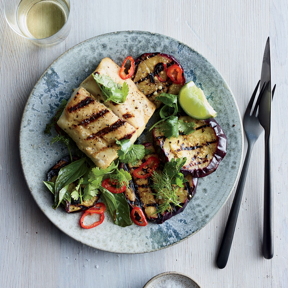Grilled Sea Bass with Marinated Eggplant