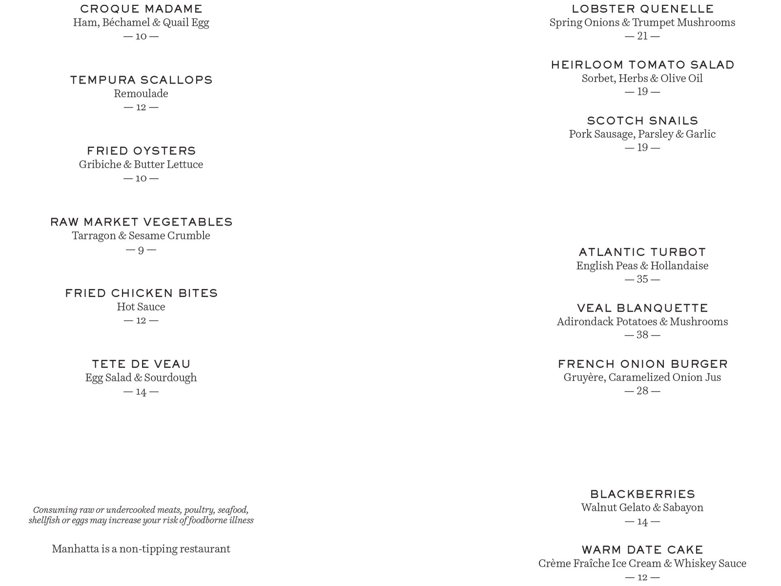 Manhatta Bar Menu