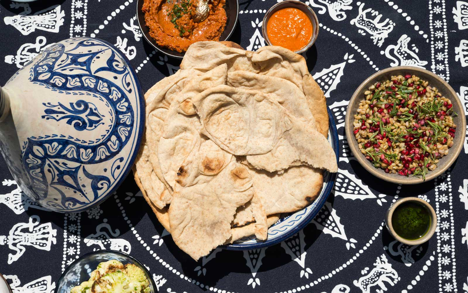 Flatbread and dips at Maydan restaurant in Washington, DC