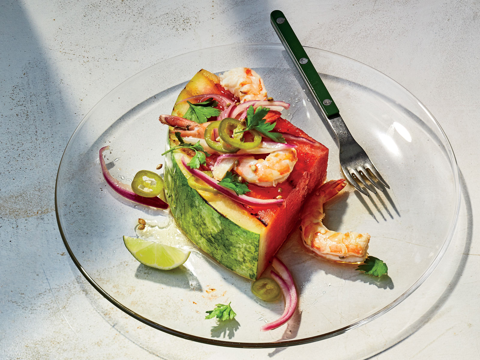 Watermelon Steaks with Warm Pickled Shrimp