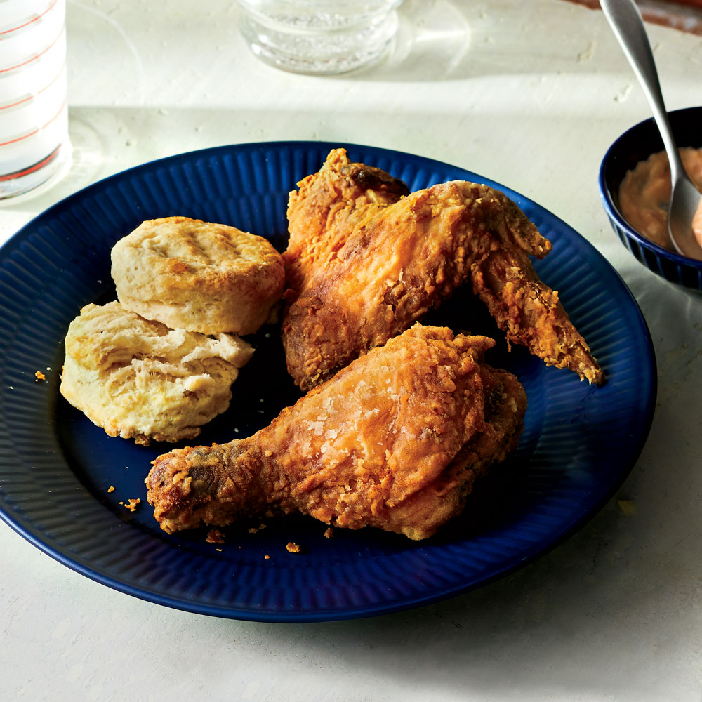 Fried Chicken with Tomato Gravy and The Best Biscuits