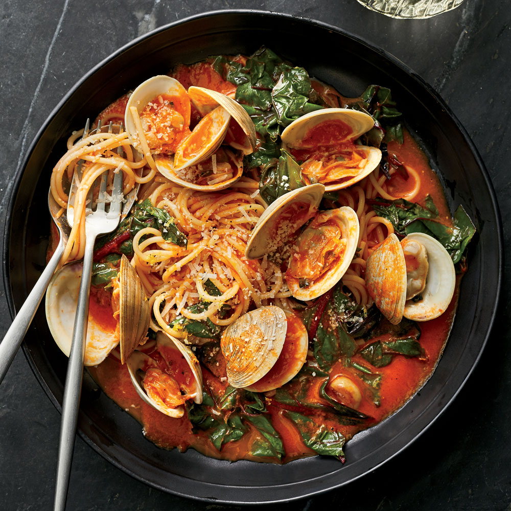 Spaghetti with Clams and Braised Greens