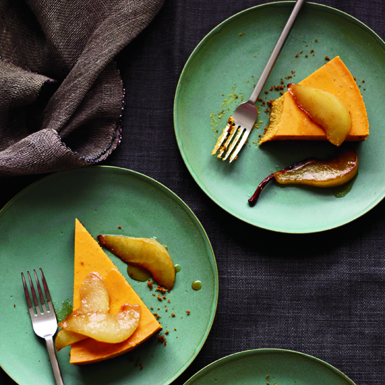 Pumpkin Cheesecake with Brown-Butter Pears