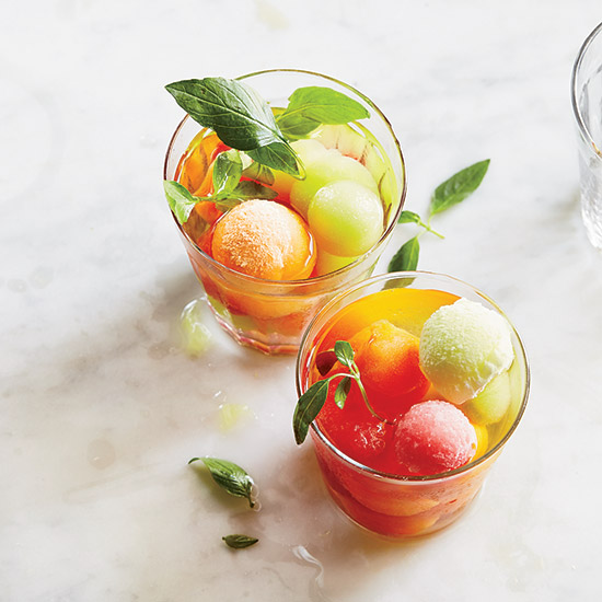 Wine Punch with Melon Ice Cubes