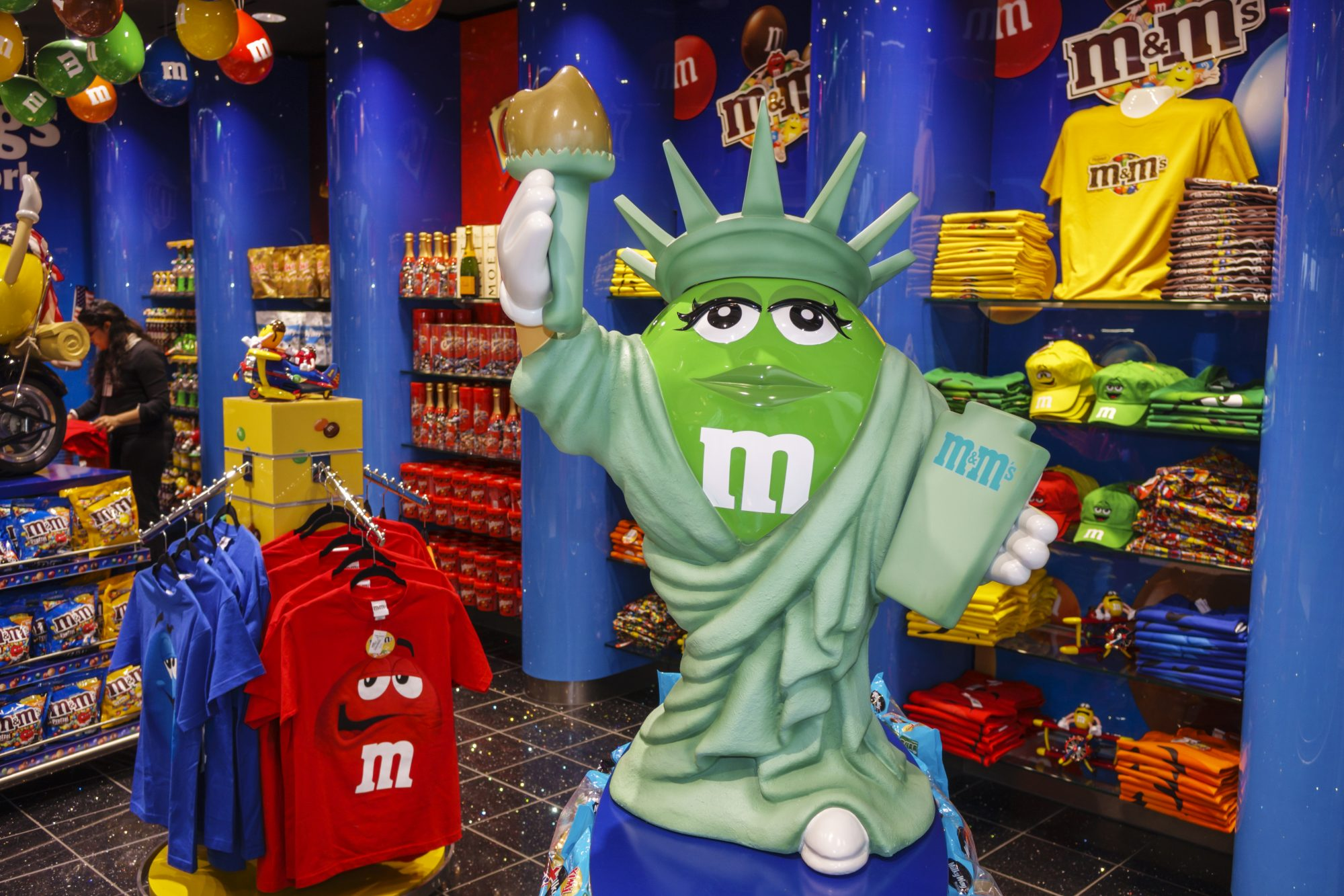 The interior of the M&M's store at John F. Kennedy International Airport.