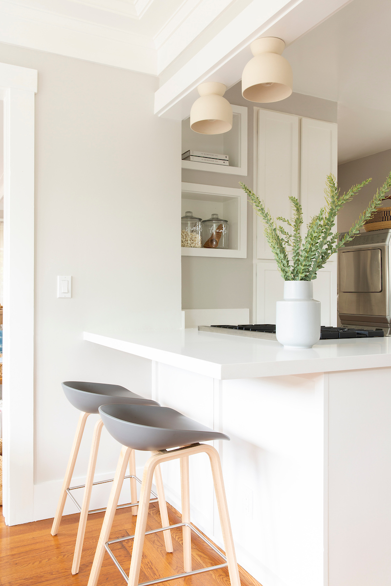 Kitchen remodel idea, expand the countertop for a dining nook