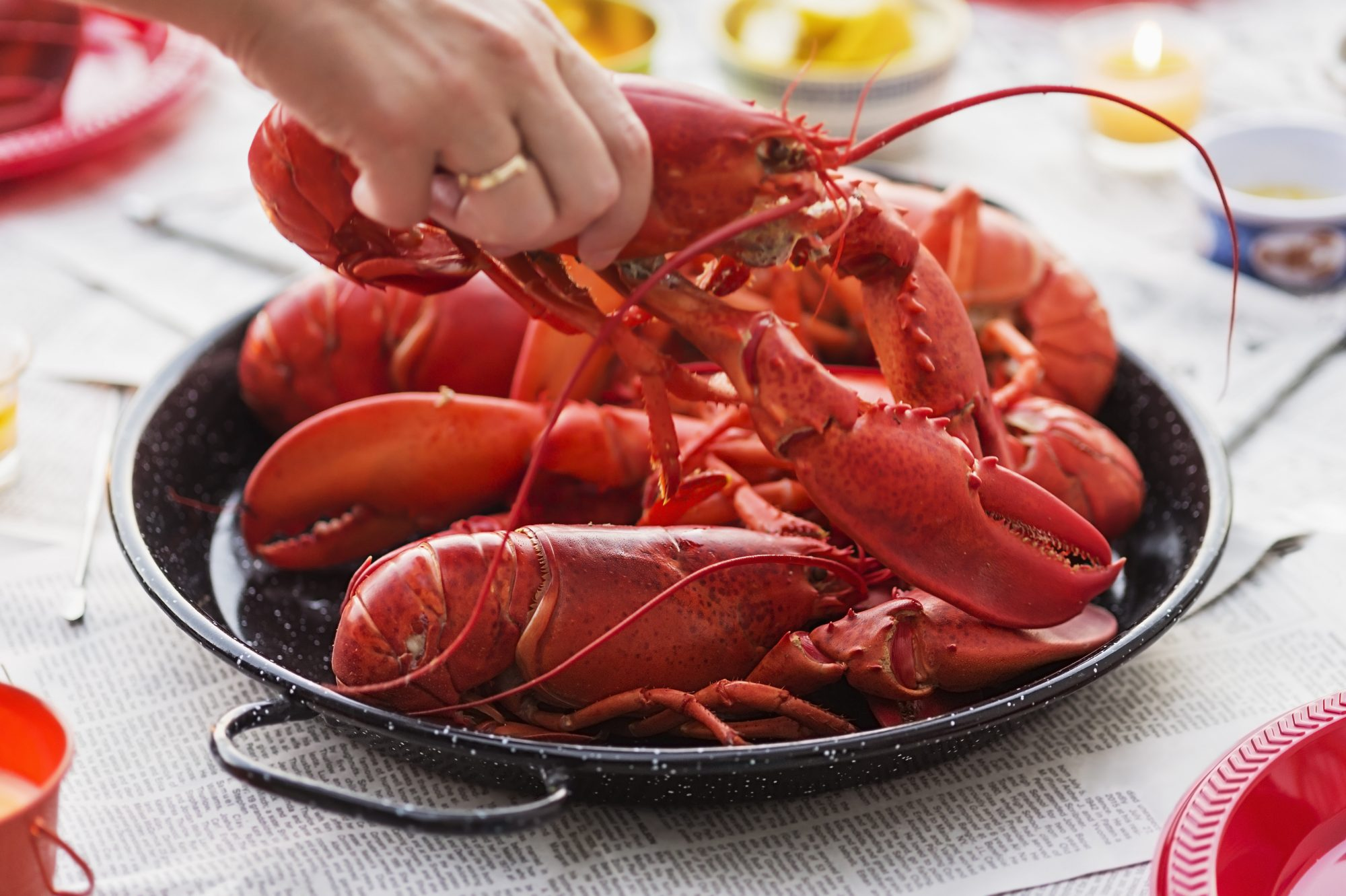 Person taking a lobster from a plate