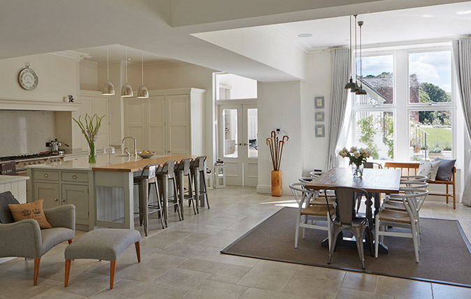Rugs, lighting and furniture can be used to zone a large room and make maximum use of its potential for cook- ing, dining, socialising and rela. Kitchen by Tom Howley (0161–848 1200; www.tomhowley.co.uk)