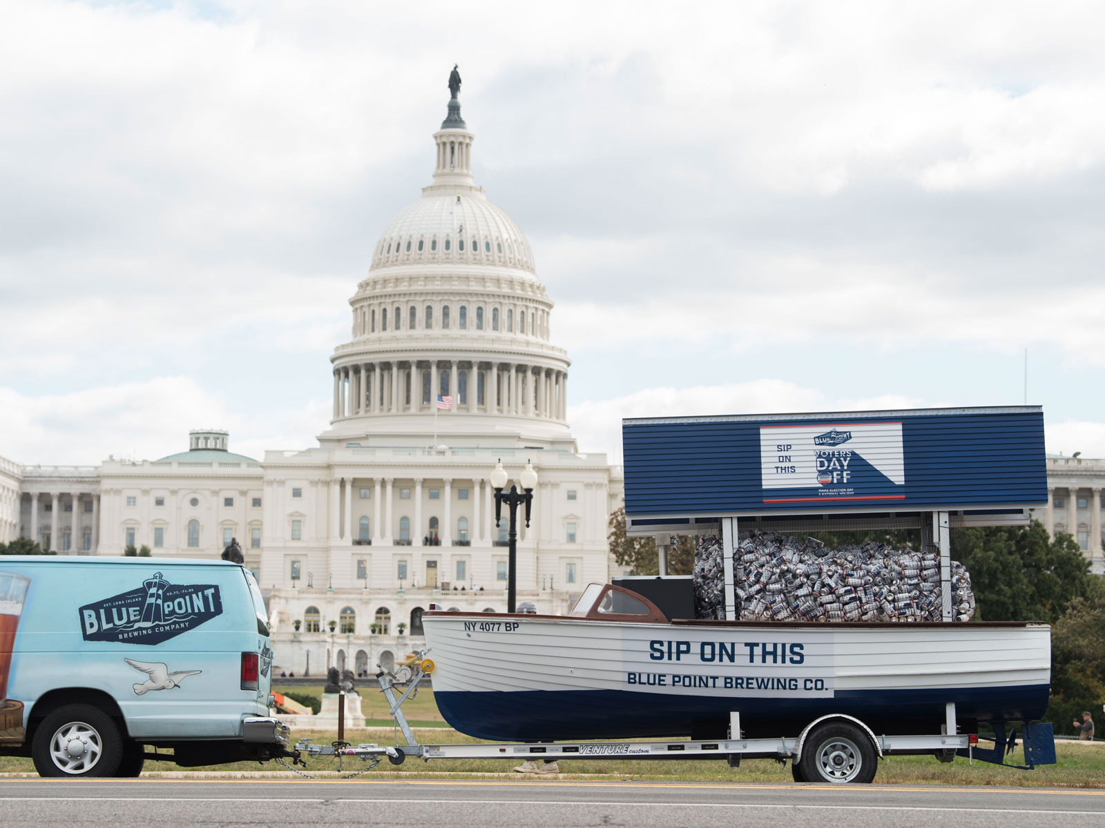 Blue Point Delivered 2,500 Signed Cans to Congress to Push for a 'Voters' Day Off'