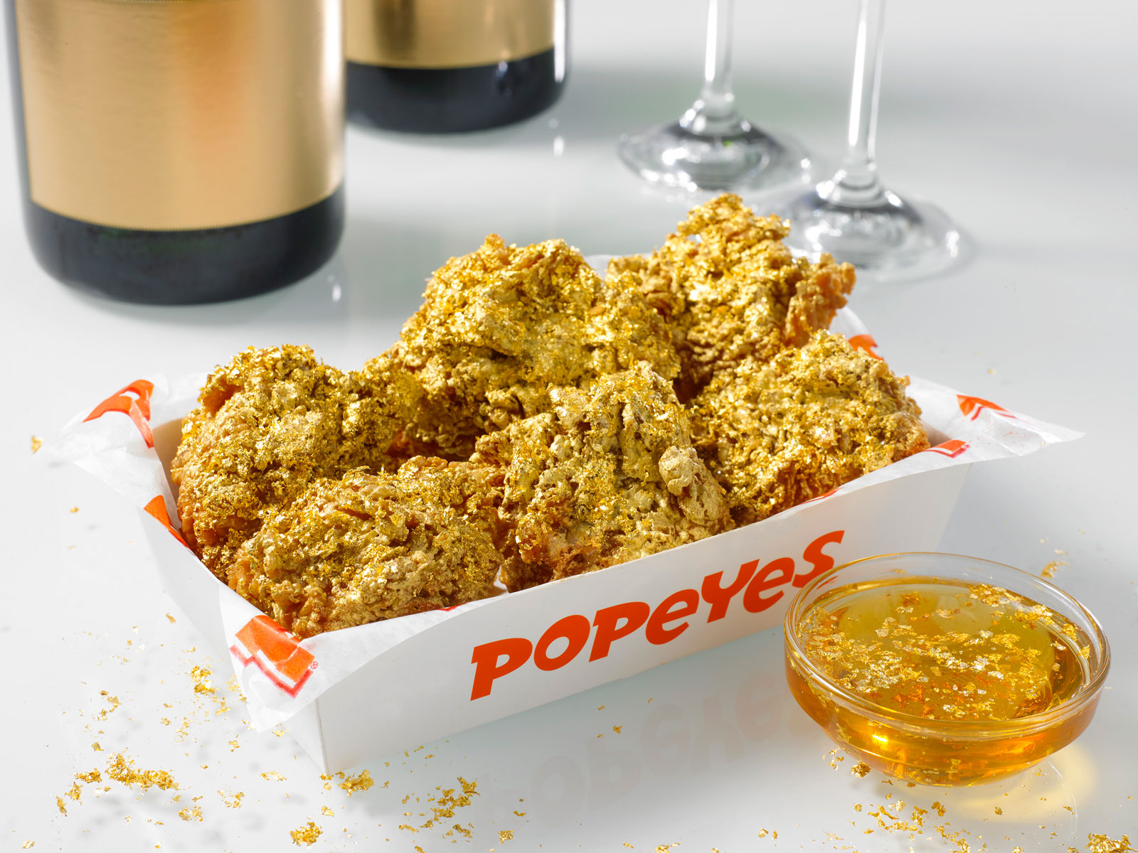 Popeyes today-only LTO coated in edible gold