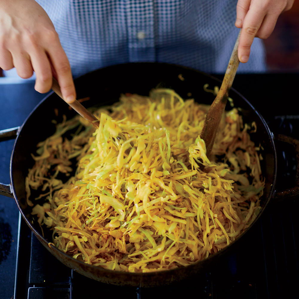 Sauteed Cabbage with Cumin Seeds and Turmeric