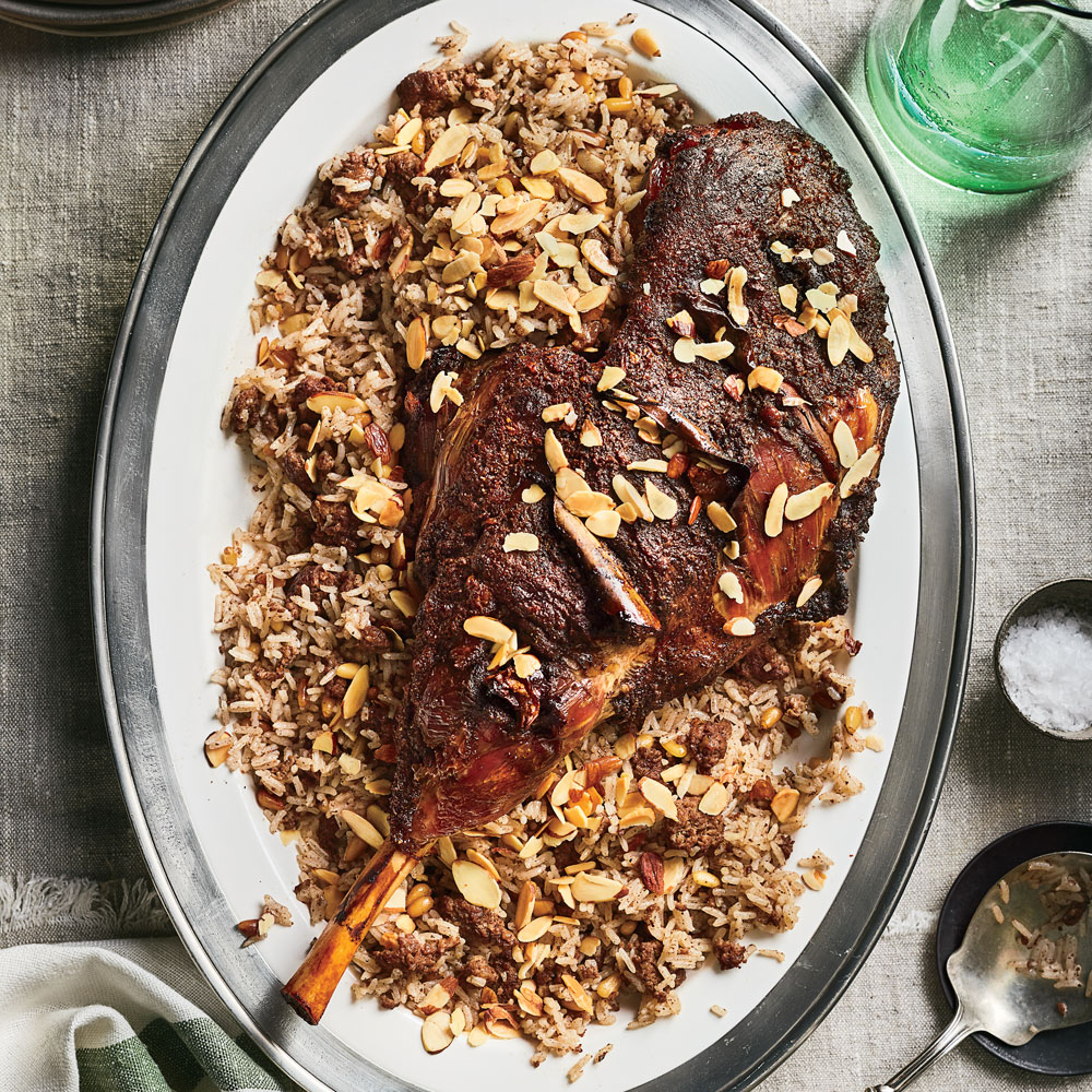 Spiced Leg of Lamb over Hashweh