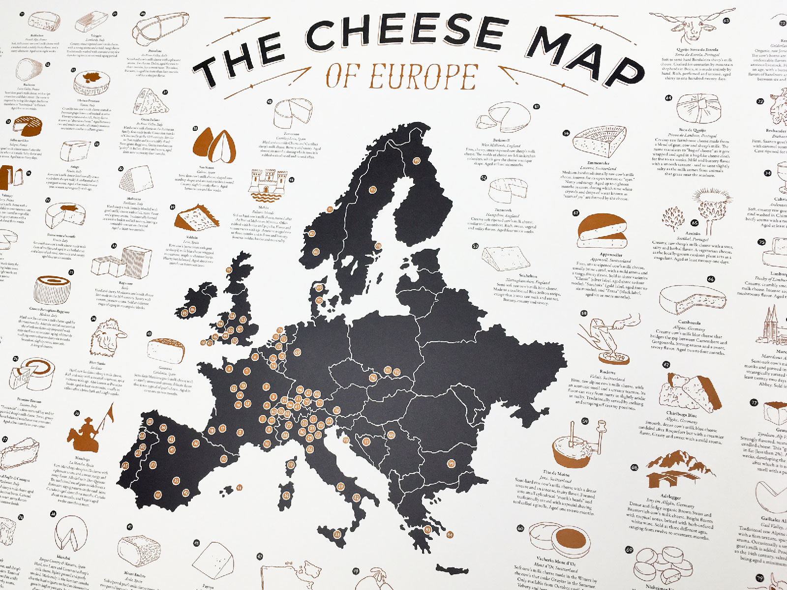 Frameable World Map.This Map Covers 100 Different European Cheeses On One Frameable
