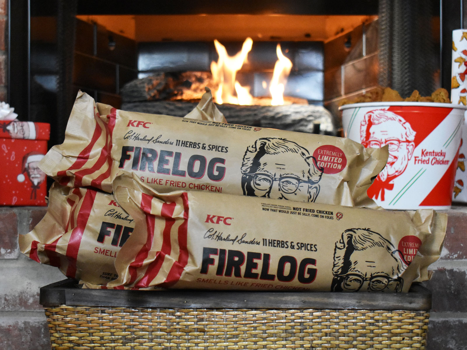 KFC Put Its 11 Herbs & Spices into a Firelog for Christmas | Food & Wine